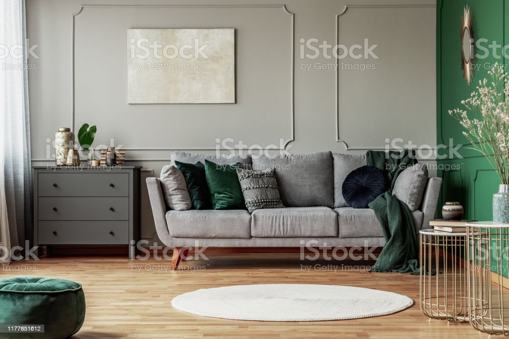 Stylish Emerald Green And Grey Living Room Interior Design With Abstract Painting On The Wall Stock Photo Download Image Now Istock