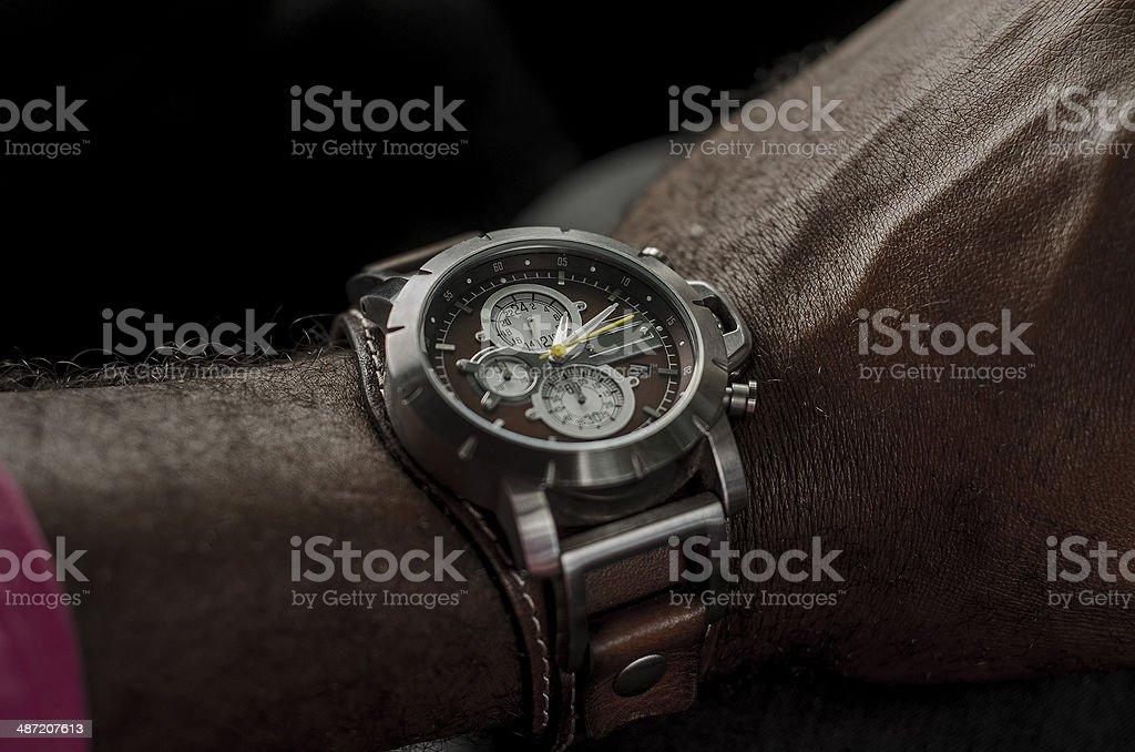 stylish expensive watch on wrist stock photo