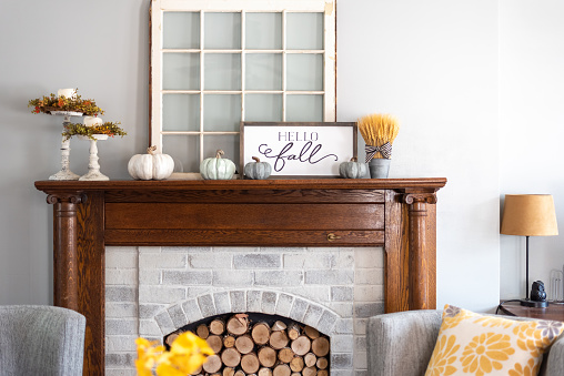 Stylish fall home decor in gray and gold