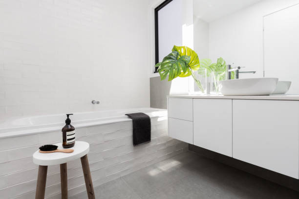 Stylish family bathroom in a white scandinavian theme stock photo