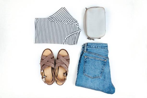Stylish female clothes set. stock photo
