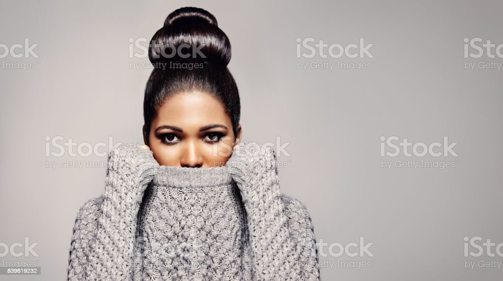 Stylish female model  in studio stock photo