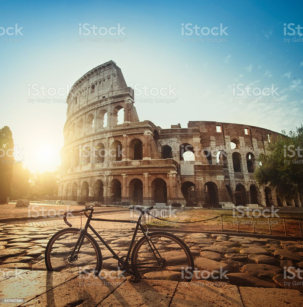 Stylish fixie bicycle in front of the Coliseum of Rome stock photo