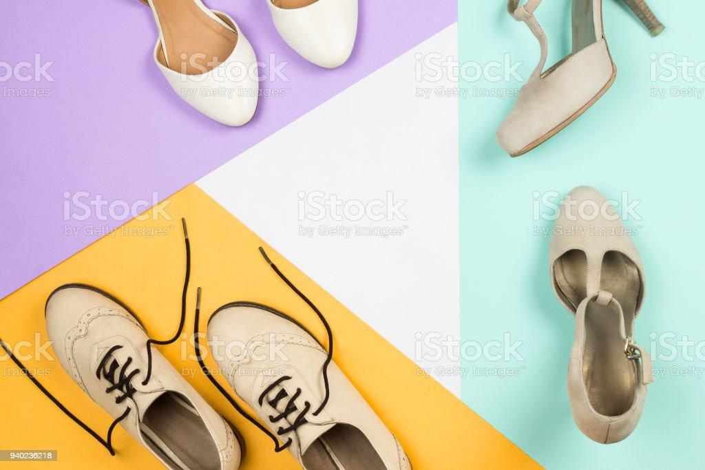 Flatlay Elegante Mujer Blanca Con Moda Zapatos Brogues De 1JuTc5FKl3