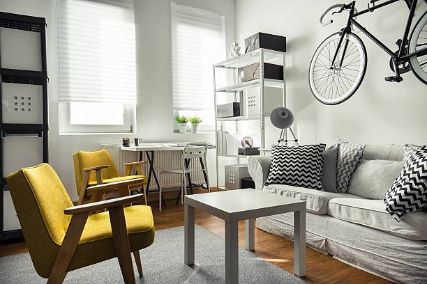 Stylish furniture in contemporary interior Stylish furniture in contemporary drawing room interior bachelor stock pictures, royalty-free photos & images
