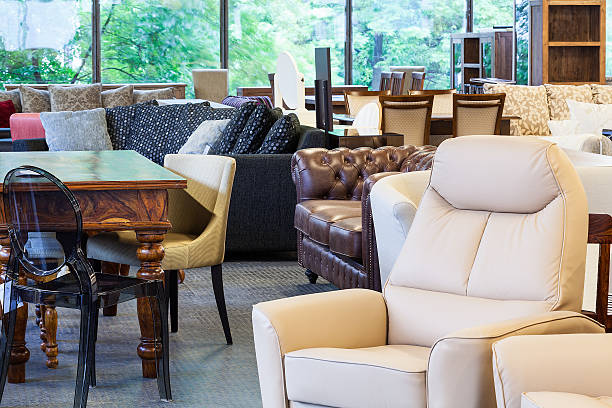 Stylish furniture A shop with stylish and classy furniture pieces showroom stock pictures, royalty-free photos & images