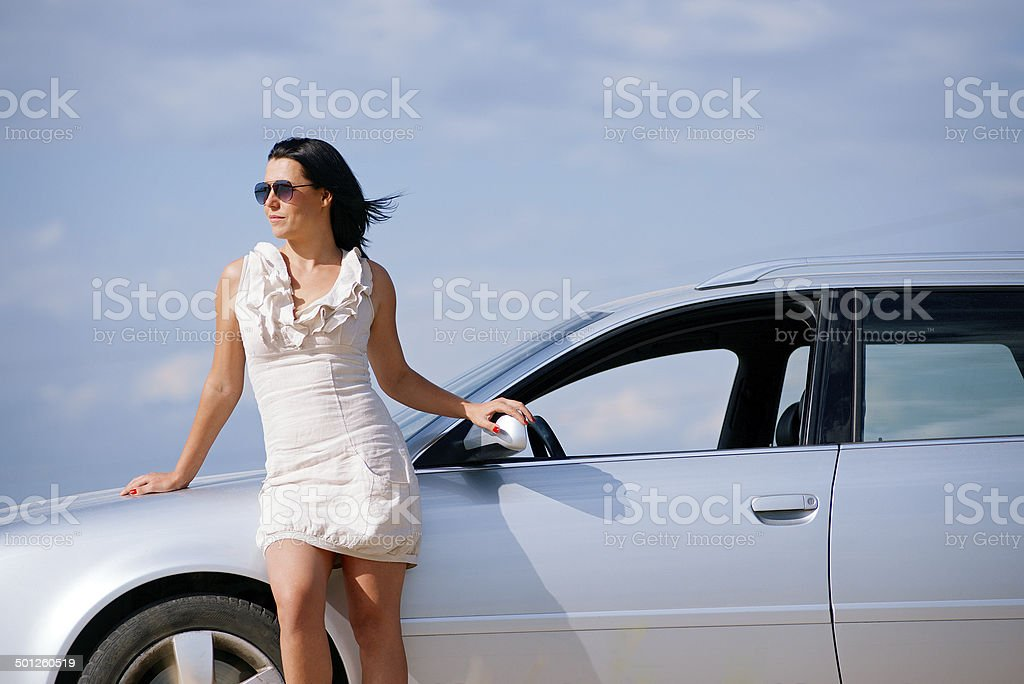 Stylish Girl And Car Stock Photo & More Pictures of Adult