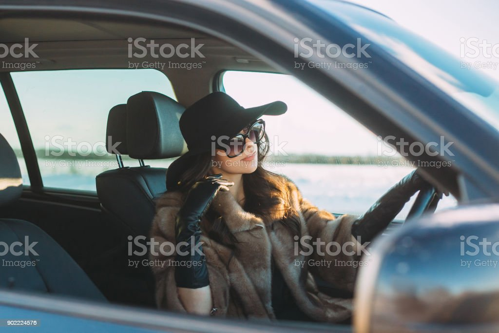 Stylish Girl Driver Stock Photo - Download Image Now - iStock