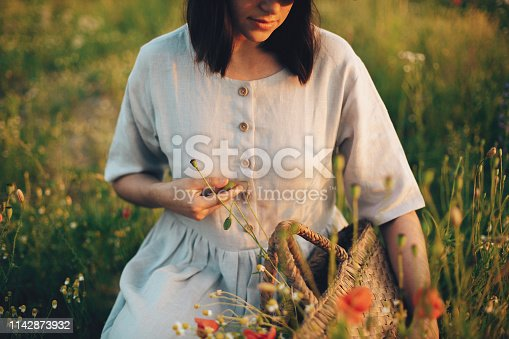 Stylish girl in linen dress gathering flowers in rustic straw basket, sitting in poppy meadow in sunset. Boho woman holding wildflowers bud in warm sunlight in summer field. Atmospheric