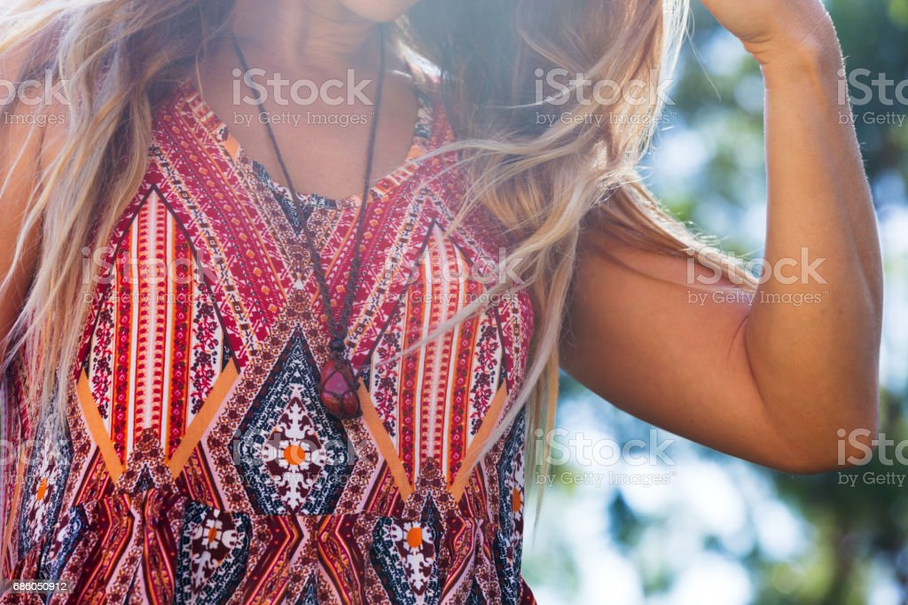 Stylish Girl with Flowing Hair stock photo