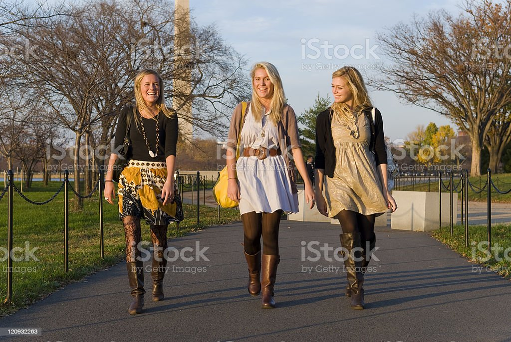 Stylish girls in city royalty-free stock photo
