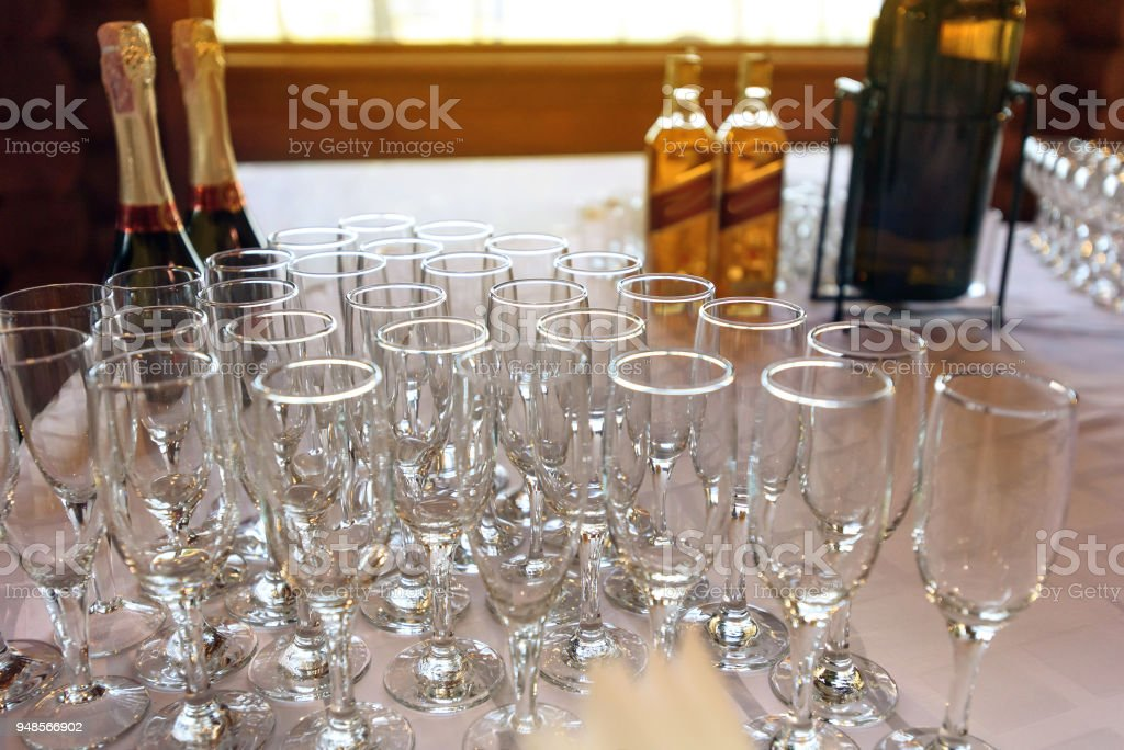 Stylish Glasses At Alcohol Bar Table At Luxury Wedding Reception
