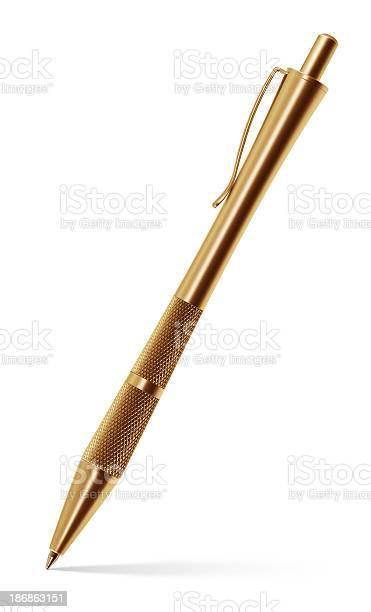 Stylish Gold Ballpoint Pen Stock Photo - Download Image Now
