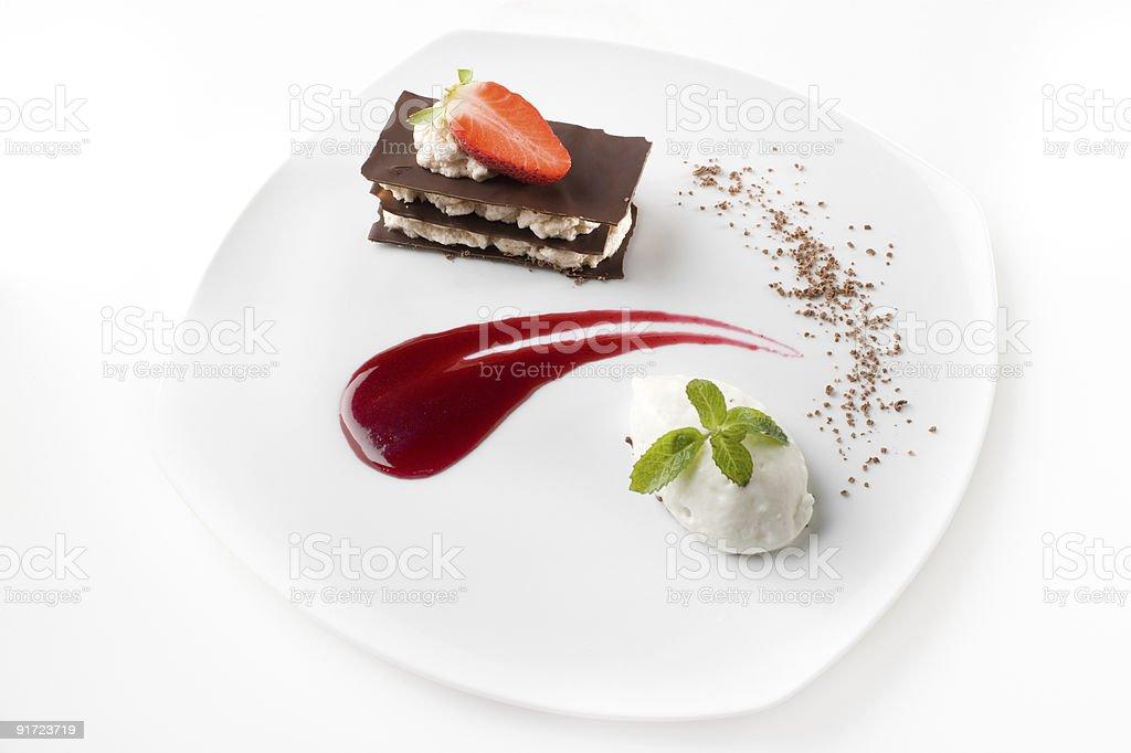 Stylish gourmet dessert stock photo