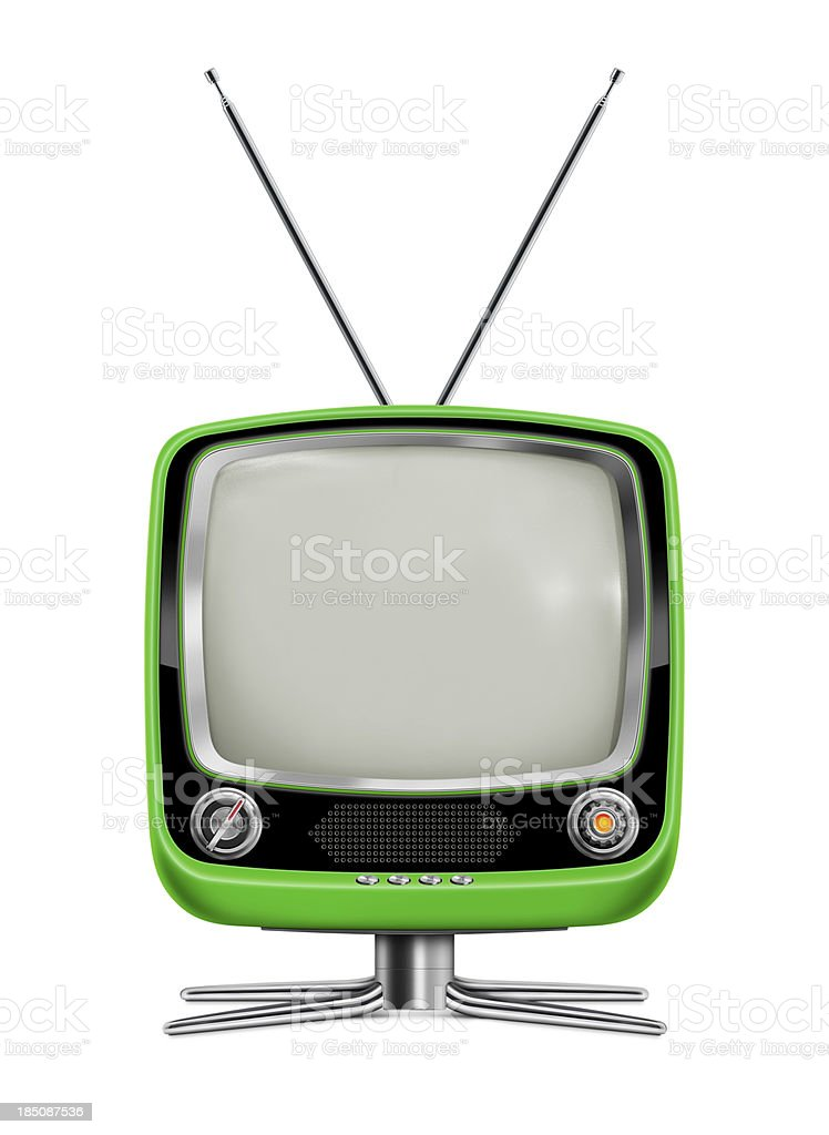 "Stylish Green Vintage Television ""Front view of stylish retro portable TV with blank screen. TV has a green plastic body, black and gray frame, metallic buttons, metallic stand and antenna. Clean image and isolated on white background."" 1960-1969 Stock Photo"