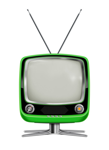 Stylish Green Vintage Television Stock Photo - Download Image Now