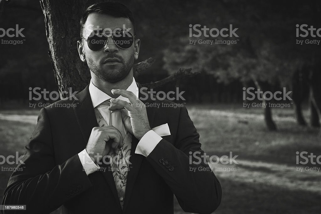 Stylish groom stock photo