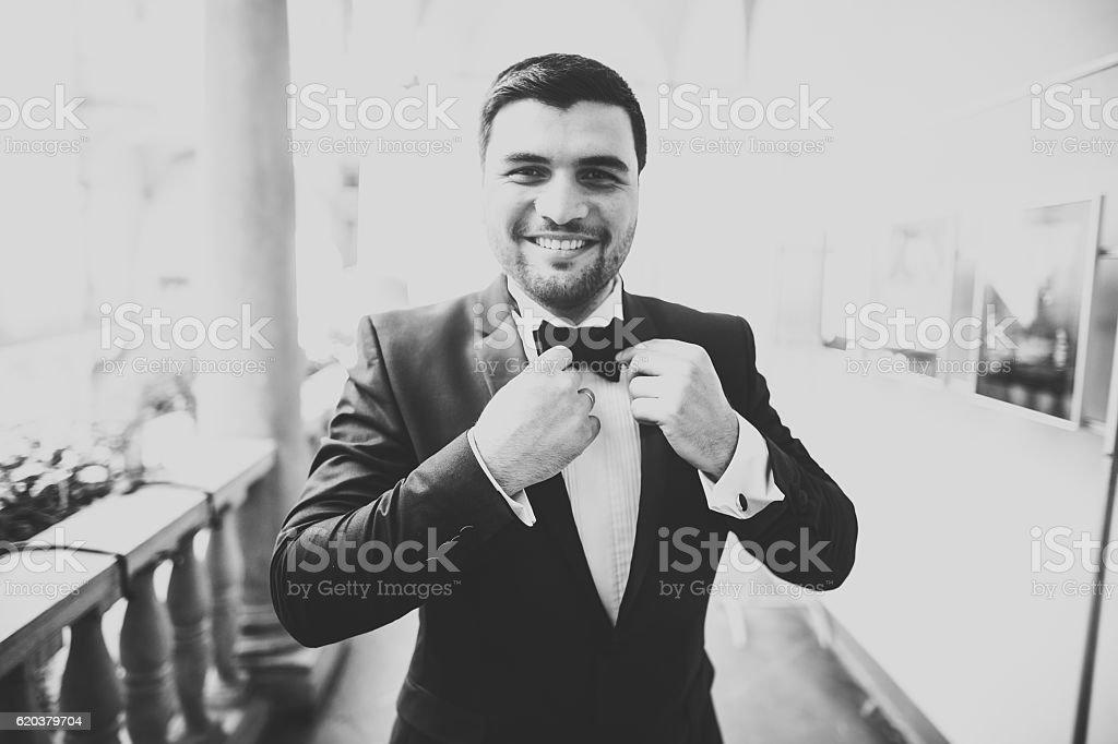 Stylish groom posing on background old castle zbiór zdjęć royalty-free