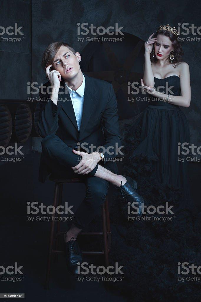 Stylish guy dreams. stock photo