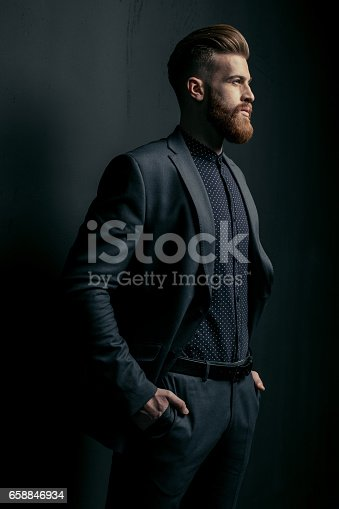 istock Stylish handsome bearded man in trendy suit looking away on black 658846934