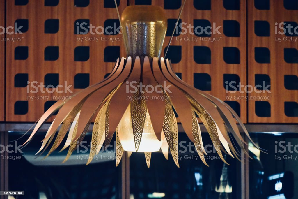 Stylish hanging ceiling interior lights unique royalty free image stock photo