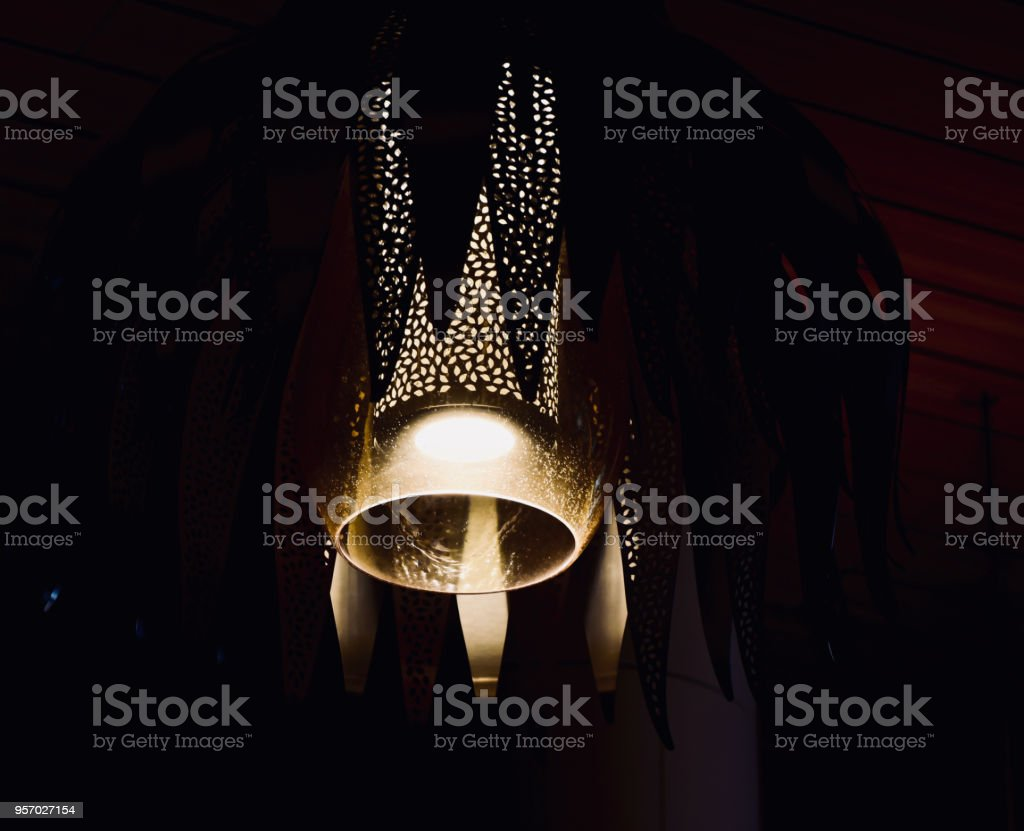 Stylish hanging electric lights of an interior unique photo stock photo