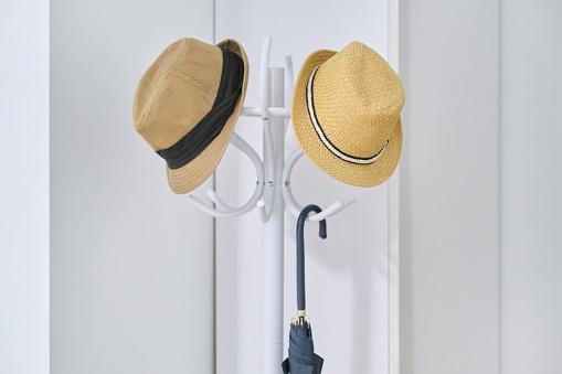 Stylish hats, umbrella hanging on floor hanger in the hallway