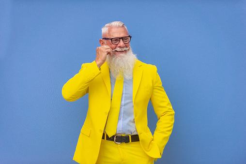Hipster senior man with extravagant style portrait
