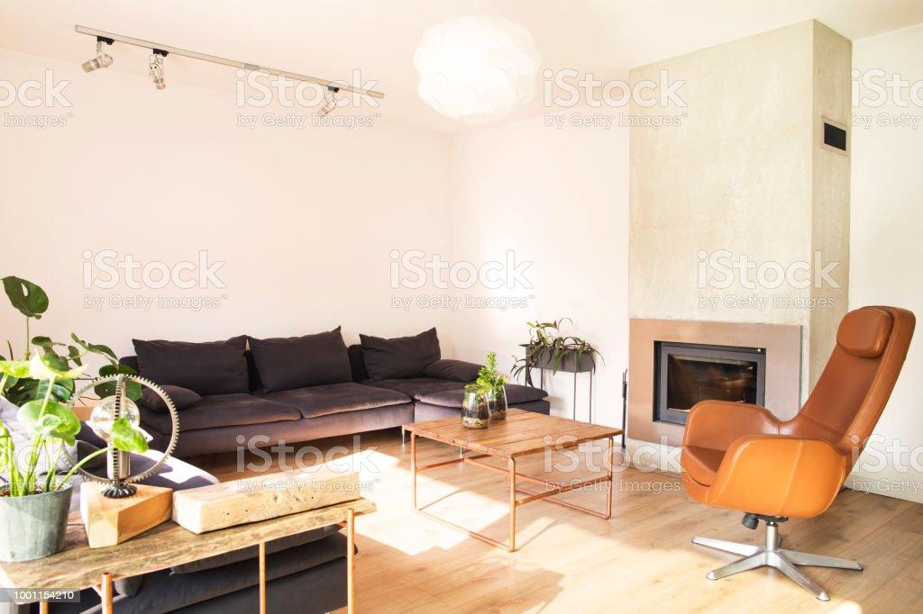 Design Bank En Fauteuil.Stijlvolle Interieur Met Design Bank Houten Tafel En Bruine