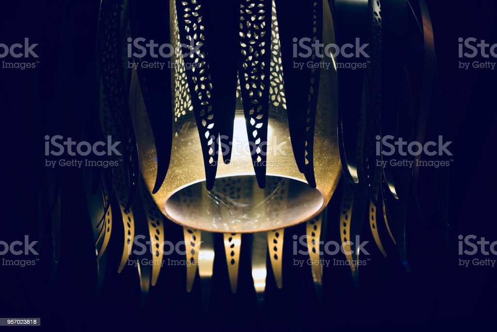 Stylish interior hanging lights isolated object unique photo stock photo