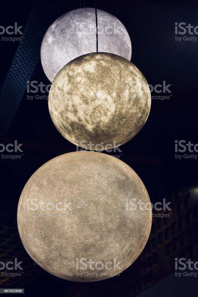 Stylish interior lights of a food court unique photo stock photo