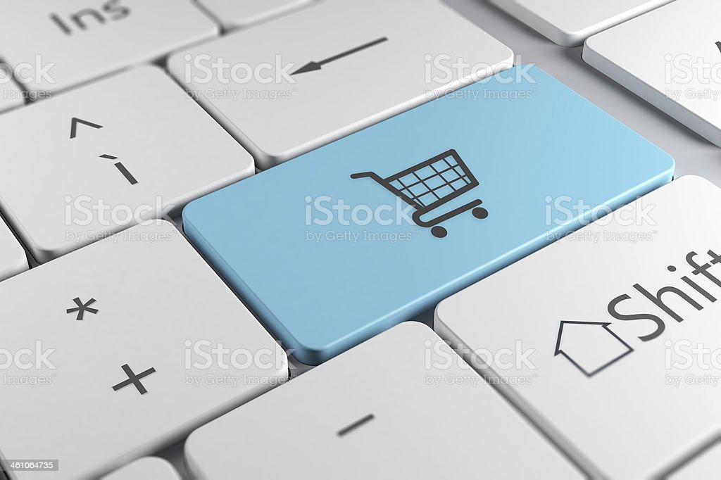 Stylish keyboard close up view with shopping chart key stock photo