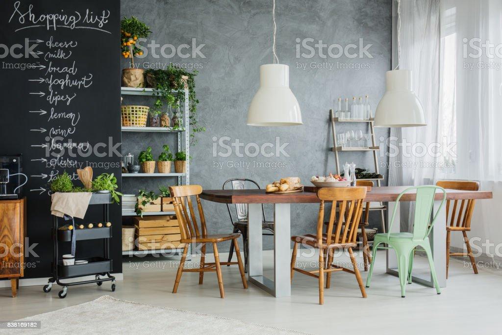 Stylish kicthen table stock photo