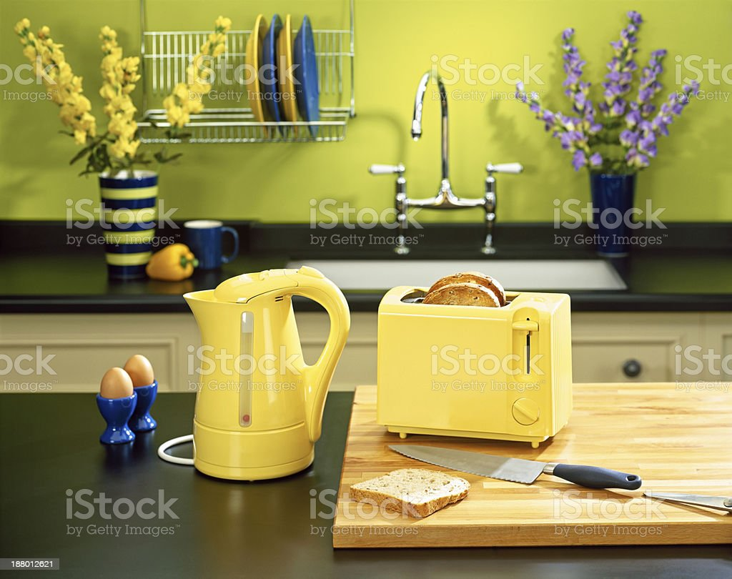 Stylish kitchen counter with appliances stock photo