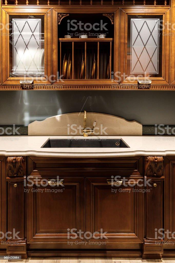 Stylish kitchen with elegant vintage style sink royalty-free stock photo