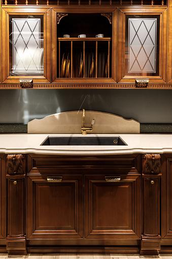 우아한 빈티지 스타일 싱크 세련 된 주방 0명에 대한 스톡 사진 및 기타 이미지