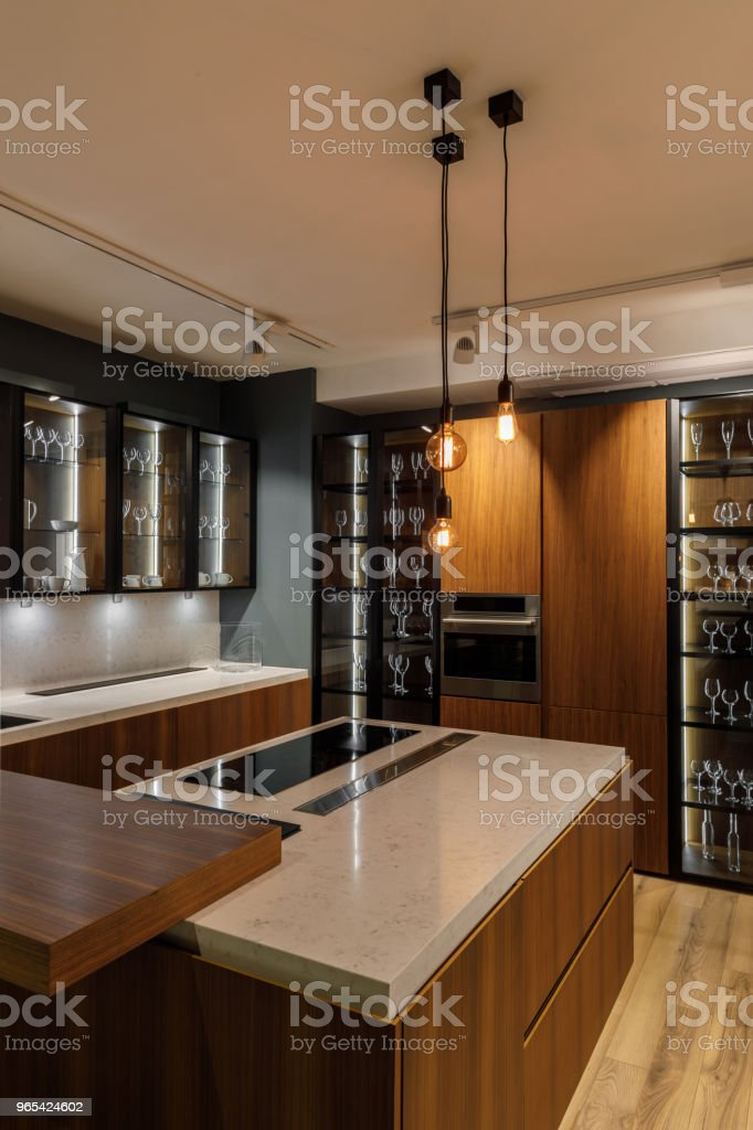 Stylish kitchen with elegant wooden cabinets zbiór zdjęć royalty-free