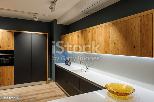 Stylish Kitchen With Modern White Counter Stock Photo & More Pictures of Appliance