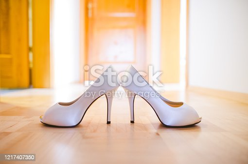 Stylish lady's shoes on the floor