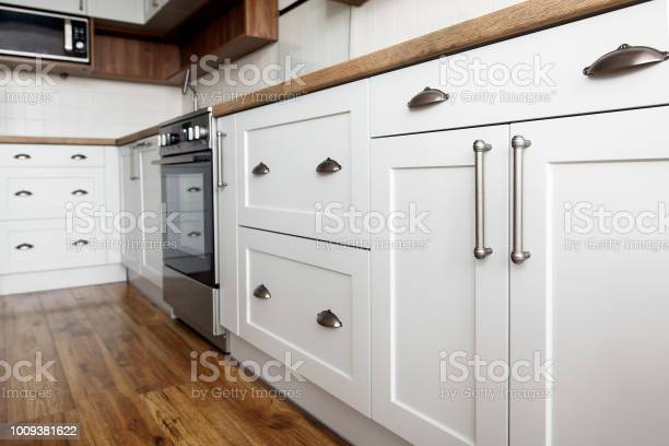 Stylish light gray handles on cabinets closeup kitchen interior with picture id1009381622?b=1&k=6&m=1009381622&s=612x612&h=xapm81z9t26iuw6x0e7flfmjweebyihisgo1hpwvn7m=