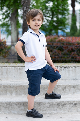 Stylish Little Boy In Fashionable Clothes Childrens Fashion And Style Stock Photo Download Image Now Istock