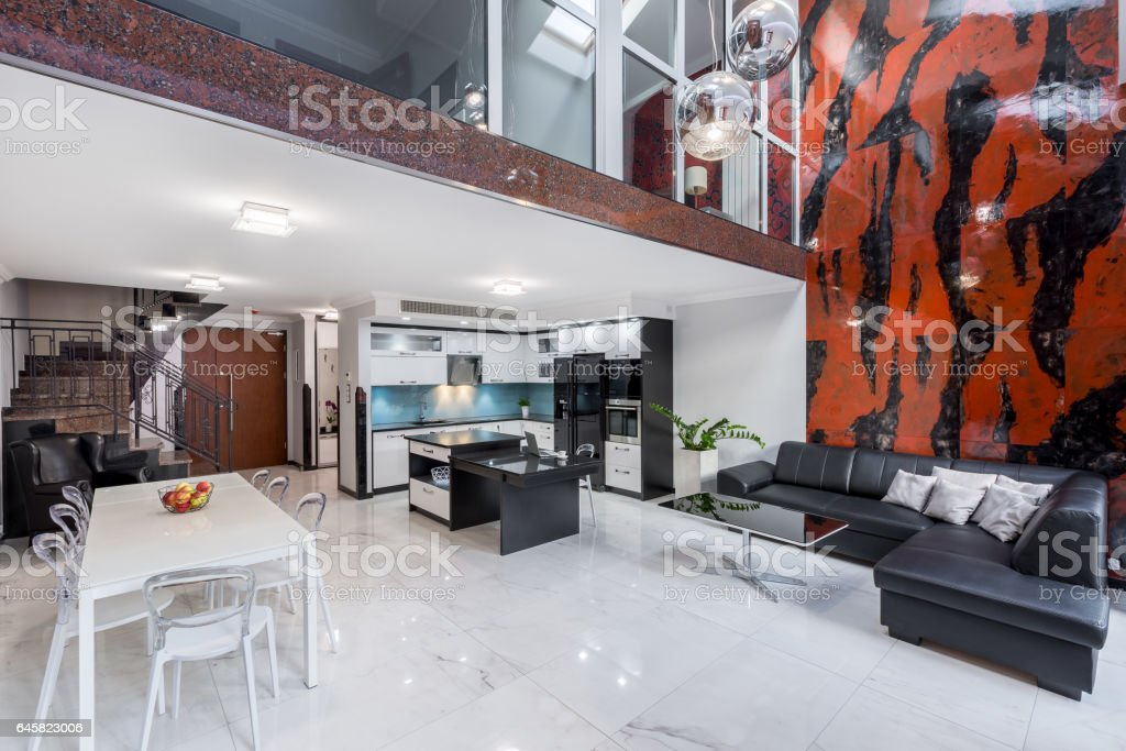 Stylish living room in apartment stock photo