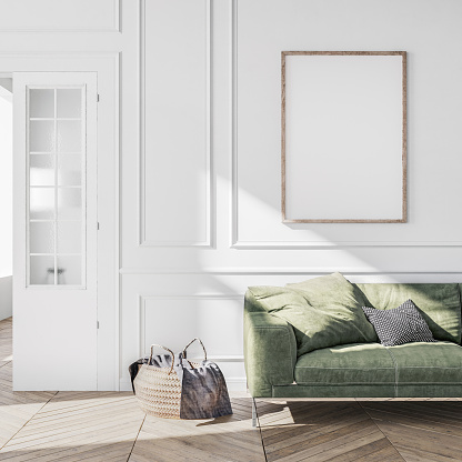 Stylish living room interior of modern apartment and trendy furniture, plants and elegant accessories