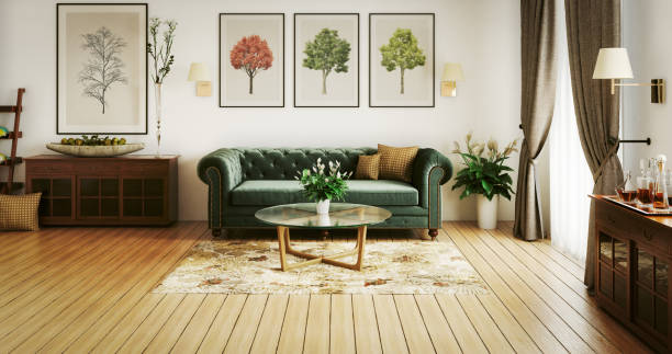 stylish living room - velvet stock pictures, royalty-free photos & images