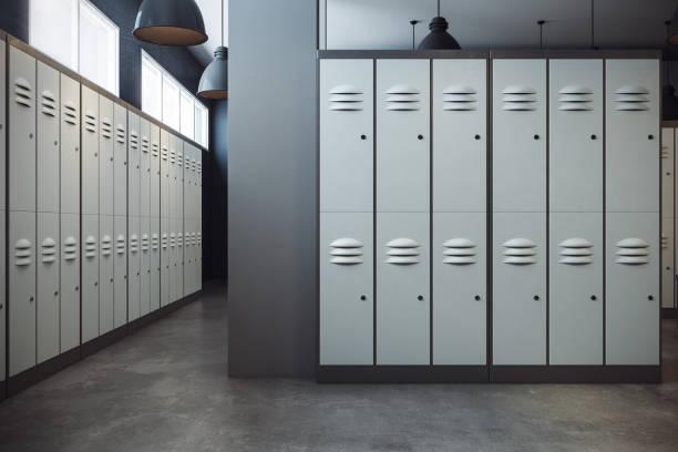 Stylish locker room interior stock photo