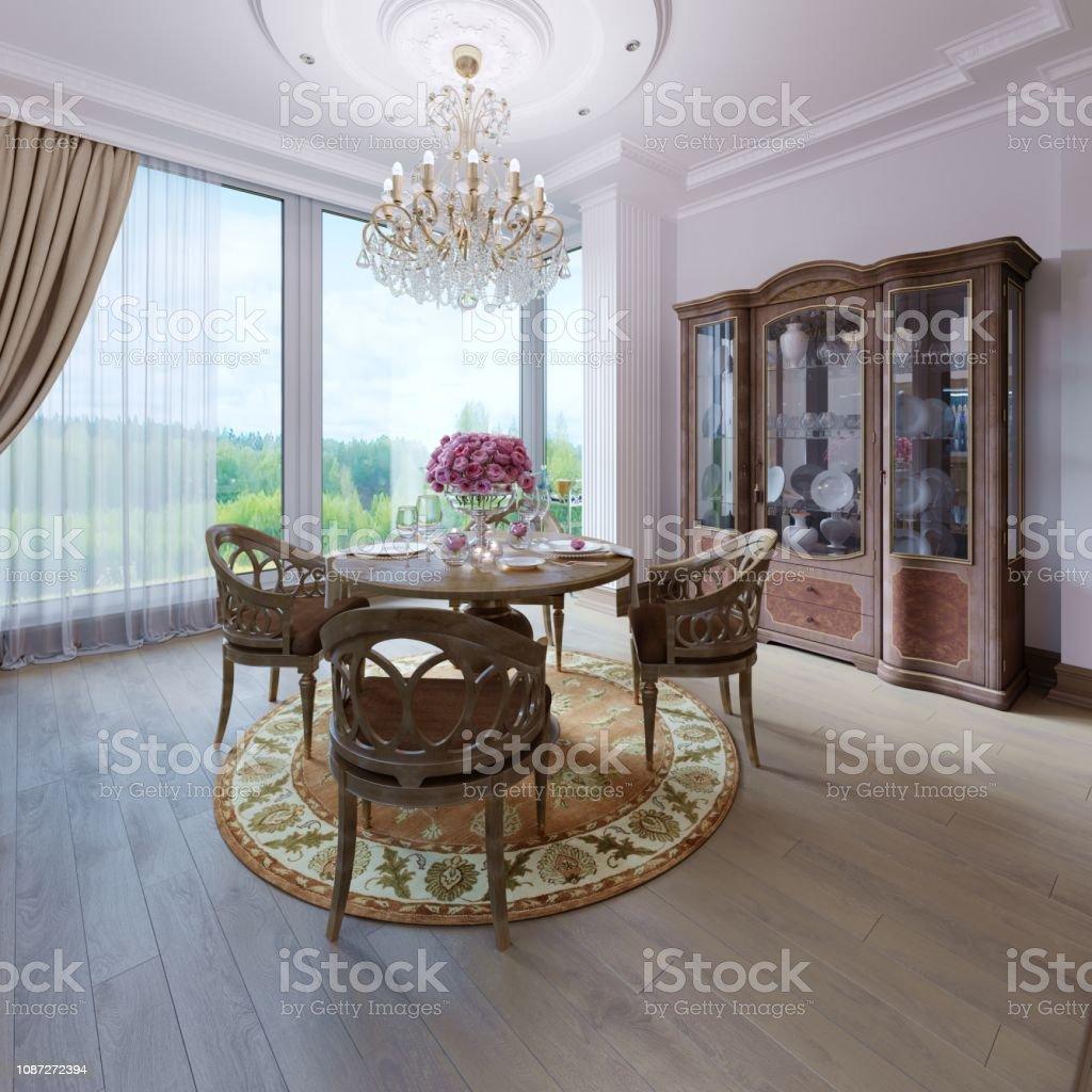 Interior Clásico De Lujo De Un Salón Comedor Diseño De ...