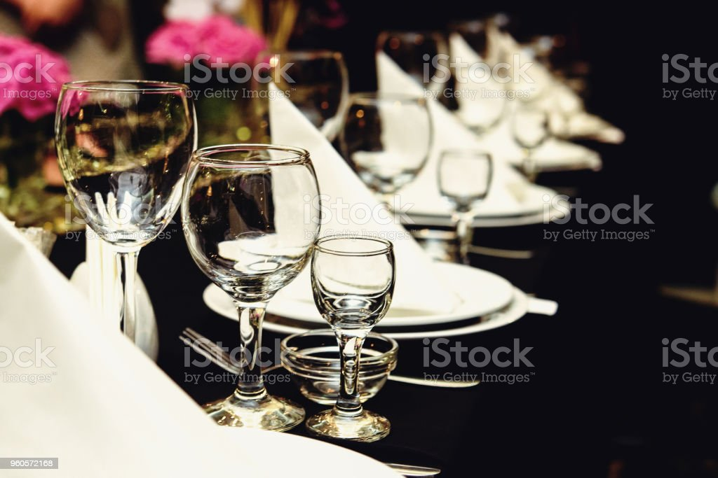 stylish luxury decorated set tables at the golden birthday party, holiday celebration concept stock photo