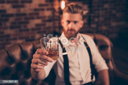 Stylish macho classic bracers suspenders accessory close up concept. Handsome attractive elegant stunning serious resting relaxing having weekend gigolo offering you to drink with him
