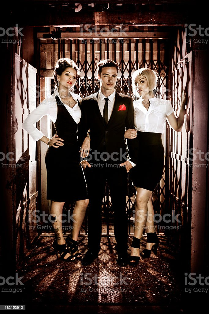 Stylish Man and Women in Elevator royalty-free stock photo