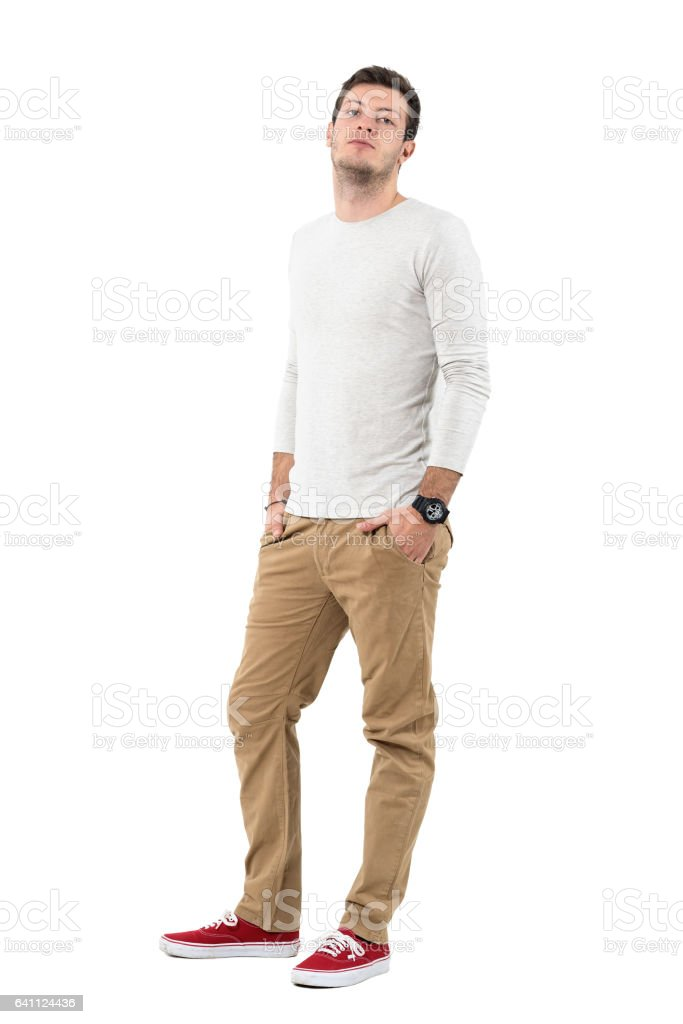 Stylish man in long sleeved shirt with head tilted back stock photo